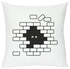 I see U U see me Cushion - Screen printed cushion made of linen & cotton I see U U see me - White & black by Domestic - Design furniture and decoration with Made in Design