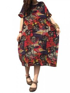 Vintage Women Loose Floral Printed Pocket Cotton Linen Dress