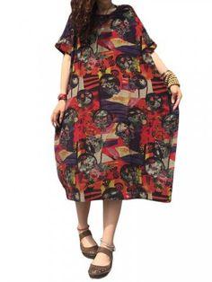 Vintage Women Loose Floral Printed Pocket Cotton Linen Dress
