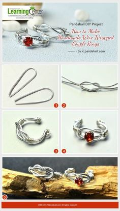 Pandahall-DIY-Projekt --- How-to-Make-Handmade-Wire-Wrapped-Paar-Ringe Pandahall-DIY-Project—How-to-Make-Handmade-Wire-Wrapped-Couple-Rings Pandahall-DIY-Projekt — How-to-Make-Handmade-Wire-Wrapped-Paar-Ringe Wire Jewelry Rings, Wire Jewelry Designs, Handmade Wire Jewelry, Wire Wrapped Jewelry, Jewelry Crafts, Amber Jewelry, Jewlery, Lc Jewelry, Handmade Rings