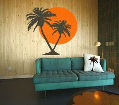 Fo Jim's man cave: Tropical Summer sunrise with Palm Trees   Vinyl art by 3rdAveShore