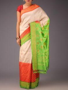 Ivory-Green-Red Pochampally Ikat Silk Saree