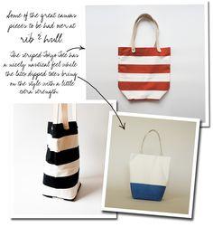 stripe tote bags // Rib & Hull via The Bedlam of Beefy