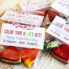 Unique No-Candy Valentines - recycle crayon pieces into colourful, useable, heart-shaped gifts + more no-candy ideas