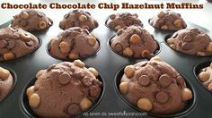 Chocolate Chocolate Chip Hazelnut Muffins make a sweet way to start the day!