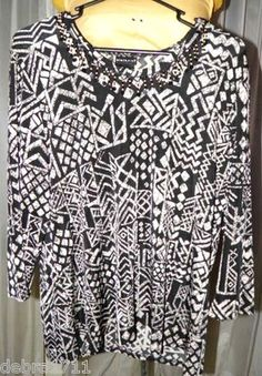 CITIKNITS Size MEDIUM Black Taupe beaded animal print 3/4 sleeve tunic shirt