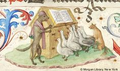 Wolf instructing choir of geese, from the 'Geese Book' Gradual, made in Germany, 1507-10 (via).