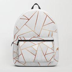 White Stone & Copper Lines Backpack/knapsack by Elisabeth Fredriksson - STANDARD Cute Mini Backpacks, Stylish Backpacks, Girl Backpacks, Backpack For Teens, Backpack Bags, Lace Backpack, White Backpack, Sac College, Cute School Bags