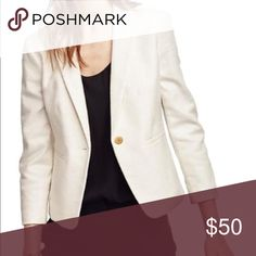 Ann Taylor Ivory Single Button Blazer Brand new, was going to wear and it fit too big on me. Fits like a size 10 in my opinion. Final Sale and I couldn't return. Ann Taylor Jackets & Coats Blazers