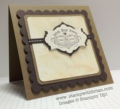 Tea Shoppe, Apothecary Accents Framelits, Scallop Square Bigz Clear, 3/16″ Corner punch, Tea Stained Paper, Stampin' Up!