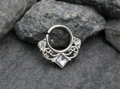 Septum Ring Silver, Septum Cuff, Daith Piercing, Daith Earrings, Helix Hoop, Helix Ring, Rook Earring, Rook Hoop, Conch Earring, Crystal 16G
