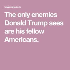 The only enemies Donald Trump sees are his fellow Americans.