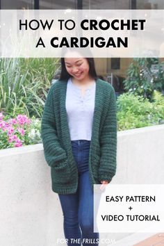 Easy Beginner Crochet Cardigan – free pattern + video tutorial Learn how to crochet a cardigan with pockets! This easy crochet cardigan is great for beginners and Easy Crochet Patterns, Knitting Patterns Free, Tutorial Crochet, Crochet Cardigan Pattern Free Women, Diy Crochet Cardigan, Easy Crochet Shrug, Crochet Pattern Free, Bolero Crochet, Knit Cardigan Pattern