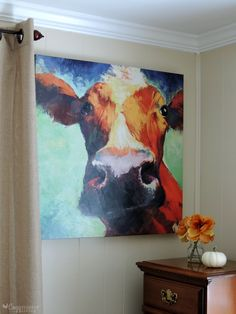 Colorful Cow Canvas Painting