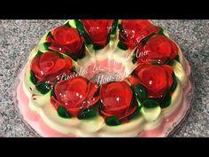 Gelatina dia de las Madres 3D Rosas encapsuladas Para NEGOCIO - YouTube Gelatin Recipes, Jello Recipes, Jelly Desserts, Jello Cake, Gelatine, Heart Cookies, Valentine Heart, Cake Art, Deli