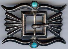 HANDSOME VINTAGE NAVAJO INDIAN SILVER & TURQUOISE CAST BELT BUCKLE