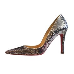Christian Louboutin Silver Sequins Pointy High Heels