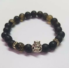 Gray cracked Marble combines to form a classic duo paired with a silver crowned lion's head. *All designs can be altered using the beads of your choice. Cracked Marbles, Natural Gemstones, Royalty, Beaded Bracelets, Couture, Gray, Beads, Silver, Jewelry