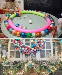 TIP #9: Make a mantel wreath with pool noodles and ornaments from Sweet Pickins Furniture. 20 Holiday Tips and Hacks on Frugal Coupon Living.