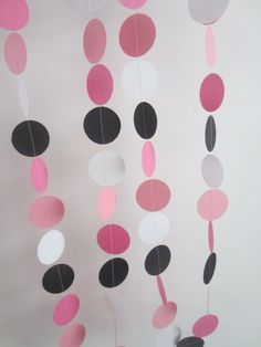 paper garland black pink light pink banner minnie mouse birthday party decorations. $10.00, via Etsy.