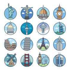 World Top Cities Landmarks Stock Illustration 1488757298 Kawaii Stickers, Cute Stickers, World Icon, City Icon, Travel Icon, Usa Tumblr, Travel Illustration, Journal Stickers, Instagram Highlight Icons