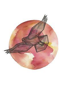 44 new ideas for tattoo geometric bird patterns Watercolor Moon, Watercolor Animals, Watercolor Pencils, Watercolors, Elephant Tattoos, Animal Tattoos, Hawke Dragon Age, Eagle Drawing, Geometric Bird
