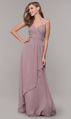 406666be38b Long V-Neck Prom Dress with Beaded Straps