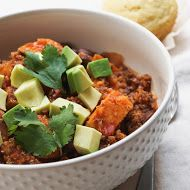THE SIMPLE VEGANISTA: SWEET POTATO & QUINOA CHILI Not a crockpot meal, but was easy to put together. Skeptical husband said I could make again! Just make sure everything is prepped before you start; moves quickly. Also, makes much more than 6 servings!