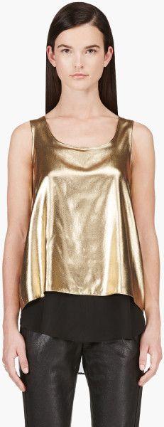 dea9d62052c889 Altuzarra Gold Lame Layered Tank Top in Gold - Lyst Layering Tank Tops, Gold  Lame