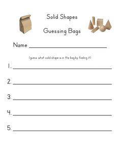 solid shapes guessing bags... This could be fun to use as a review at the end of the unit!