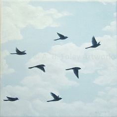 Original acrylic painting: Among the Clouds A flock of birds in flight is a…