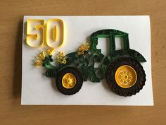 Quilled Greeting Card with a Tractor. Inspired by Melly the Elephant, thank you for the idea!