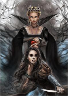 Snow White and Huntsman by `daekazu on deviantART ~ Disney ~ Evil Queen Ravenna {Charlize Theron} & Snow White {Kristen Stewart}