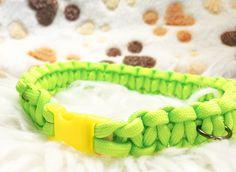 Dog Collar - Small Highlighter Pet Collar - Paracord Dog Collar - Green Dog Collar - Handmade Dog Collar - Homemade Dog Collar - Green Paracord Dog Collar - Strong Dog Collar - Water Resistant Dog Collar