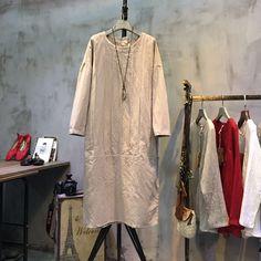 Hot-selling #Buttons #Decoration #Linen #Dress #Casual #Dress