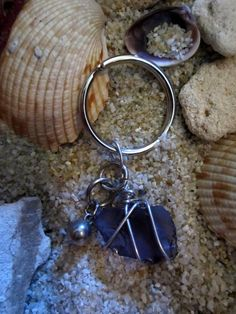 Key chain made of tumbled glass wrapped in wire by deborahanne, $8.00