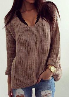 Sexy V Neck Long Sleeve Khaki Sweater