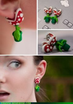 Wicked cute Nintendo earrings! Have a little plant nomming on your ear.
