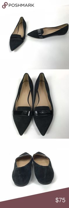 M Gemi Tuta Suede Flat Pointy Toe IT 42 US 10.5 11 M Gemi Tuta Womens Flats Suede Pointy Toe Patent Leather Sz 42 10.5 11  Condition Excellent Used Condition soles and heels in good shape, suede uppers flawless.  Color Black on Black  Material Suede with patent leather.  Size EU 42 US 10.5 11*  * I'm a 10 who can sometimes wear a 10.5 and I can wear these.  Beautiful flat shoe which completely covers your toes by Italian shoemaker M Gemi. Thanks for looking! M Gemi Shoes Flats & Loafers