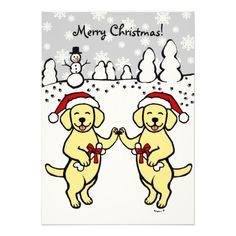 "Unique and funny Labrador Retriever dog cartoon created by Naomi Ochiai from Japan.   Happy and delightful looking Yellow Labradors are celebrating Christmas in the snow field.   Cheery Christmas gifts for dog lovers who love Yellow Labrador.  You can customize text and more! <br> <a href=""http://www.zazzle.com/happylabradors/gifts?cg=196811834152819739""><img ..."