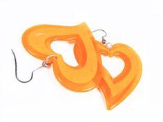Vintage Mod Heart Earrings in Orange 80s  Boucles by MyChouChou, $3.50