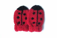 Hand Knit Ladybug Baby Mittens 6 to 12 Months  by VeryCarey, $18.00