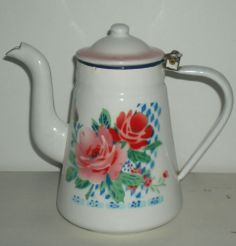 Vintage Enamelware Coffee Pot with Flowers | eBay