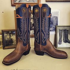 Custom Cowboy boots. Blue uppers, Beck 5 Row stitching, football vamps. #beckcowboyboots #beckboots #customboots #boots #cowboyboots #handmadecowboyboots #madeintexas
