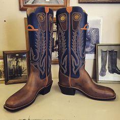 Custom Cowboy boots. Blue uppers, Beck 5 Row stitching, football vamps. #beckcowboyboots #beckboots #customboots #boots #cowboyboots #handmadecowboyboots #madeintexas