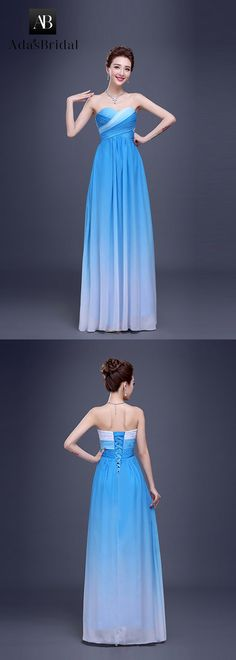 In stock chic chiffon sweetheart neckline a-line prom dress. Blue and white are bright colors for summer. (SOD74485) - Adasbridal.com