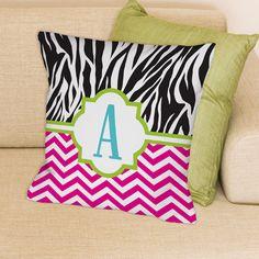 Personalized Monogrammed Zebra and Chevron Throw Pillow