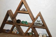 triple shelf curio shelf triangle shelf display shelf geometric shelf crystal display mountain shelf Large Shelves, Rustic Shelves, Mountain Shelf, Regal Display, Ladder Shelf Diy, Geometric Shelves, Triangle Shelf, Shelf Display, Meditation Space