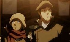 Korra and Mako.   HE LET HER USE HIS SCARF!!!!!!!!!!!!!!!!!!!!!!!!!!!