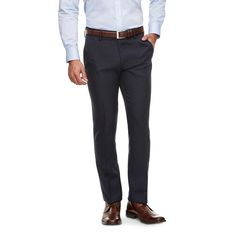 Haggar H26 - Slim Fit Performance Pants Navy 32X30, Blue